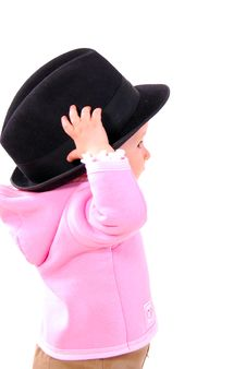 Free The Little Gir In The Big Hat. Royalty Free Stock Photos - 20427828