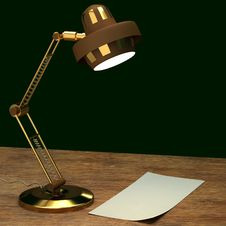 Free Gold Lamp Desk Royalty Free Stock Photography - 20428567