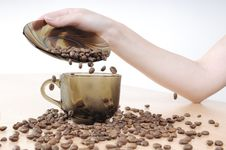 Hands Pours Coffee Into A Coffee Cup Stock Images