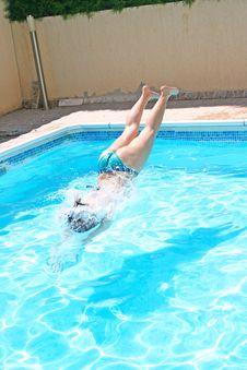 Free Woman Jumping To Swimming Pool Stock Image - 20428621