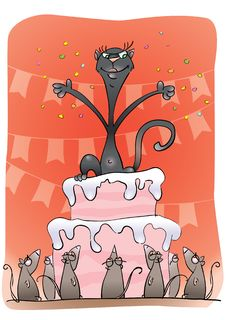 Free Black Cat On A Cake Royalty Free Stock Image - 20429676