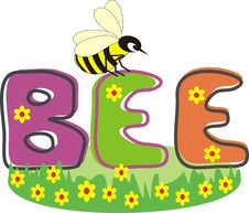 Free Inscription BEE And Bee On Green Grass Royalty Free Stock Images - 20429749
