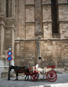 Free Horse Carriage And Cathedral Royalty Free Stock Photos - 20431388