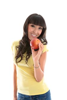 Free Healthy Lifestyle - Happy Woman Eat Apple Stock Photos - 20431523