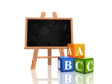 Free Blackboard With Abc Cubes Royalty Free Stock Image - 20431896