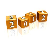 Free Golden Cubes 2012 Stock Image - 20432501