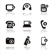 Free Black Technology With Arrows Icons Royalty Free Stock Photo - 20434005