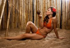 Free Girl On The Beach With Red Flower Stock Photo - 20434130