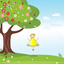 Free Summer Background With Little Girl Royalty Free Stock Photo - 20434135