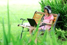 Free Girl With A Laptop In The Park Grass Royalty Free Stock Photo - 20434195