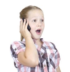 Free The Beautiful Girl Speaks On The Phone Royalty Free Stock Image - 20434406