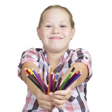 Free Girl With Colored Pencils On White Royalty Free Stock Photos - 20434488