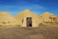 Free Reconstruction Of Ancient Construction In Steppe. Royalty Free Stock Image - 20434846
