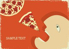Free Hungry Man And Pizza.Vector Poster Royalty Free Stock Photo - 20435055