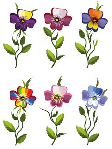 Free Set Pansies Royalty Free Stock Photos - 20435738