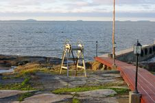 Free Marine Dock And The Islands On Horizon Stock Photography - 20435902