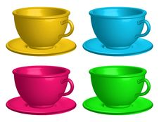 Free Color Cups Isolated Royalty Free Stock Photo - 20436505