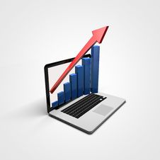 Free Business Graph In A Laptop Royalty Free Stock Images - 20437279