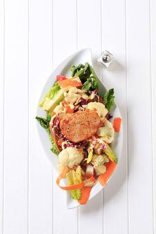 Marinated Pork Chop And Vegetable Salad Royalty Free Stock Photo
