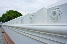 Perspective View Of White Wall Design In Wat Thai Stock Images