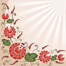Free Red Flowers On A Beige Background Stock Images - 20438964