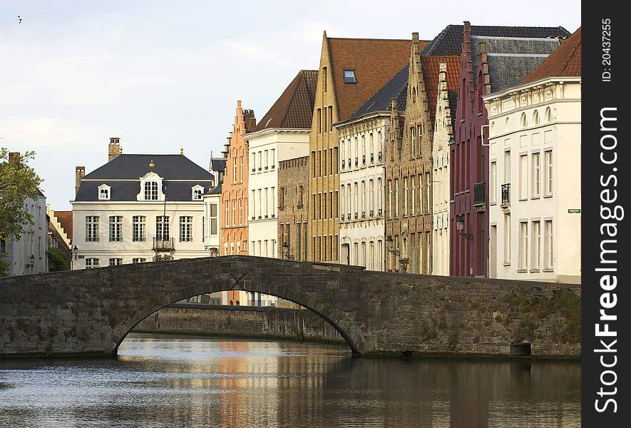 Typical houses and canal of Bruges