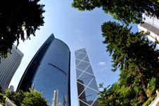 Free Fisheye View Of Financial District In Hong Kong Royalty Free Stock Photos - 20440998