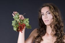 Free Beautiful Young Woman With Berries Red Currant Royalty Free Stock Photos - 20441168