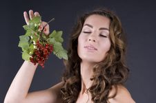 Free Beautiful Young Woman With Berries Red Currant Stock Images - 20441194