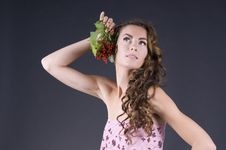 Free Beautiful Young Woman With Berries Red Currant Stock Photography - 20441232
