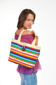 Free Beautiful Woman Holding Beach Bag Royalty Free Stock Photography - 20443287