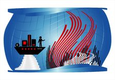 Man On Ship Under Water Royalty Free Stock Photography