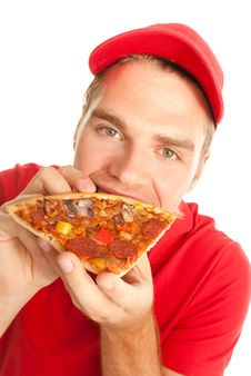 Free Eating A Pizza Stock Photography - 20443672