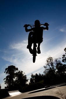 Free Silhouette Of Freestyle BMX Rider Getting Air Royalty Free Stock Photos - 20443718