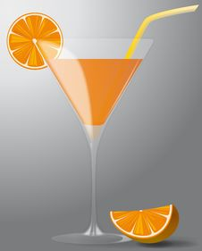 Free Cocktail With Orange And Straw Royalty Free Stock Images - 20443889