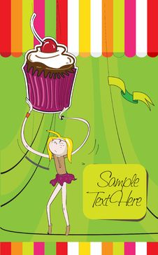 Free A Girl Carrying A Huge Cupcake Stock Images - 20444214
