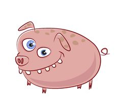 Free Caricature Funny Smiling Pig Character Stock Photography - 20445272