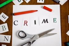Free Letter With Crime Word On The Paper. Royalty Free Stock Photo - 20445345