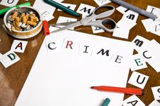 Free Warning Letter With Crime Word On The Paper. Stock Photos - 20445373