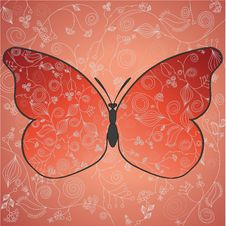 Free Abstract Beautiful Red Butterfly With A Flower Pat Stock Photos - 20445503