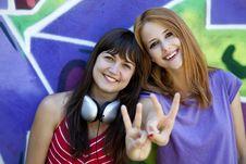 Free Two Girlfriends Near Graffiti Wall. Stock Image - 20445571