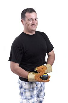 Free Man With A Tape Measure Royalty Free Stock Photography - 20446347