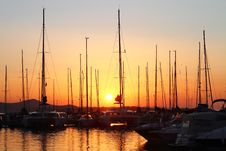 Free Sailing Boats In Marina At Sunset Royalty Free Stock Photography - 20447817