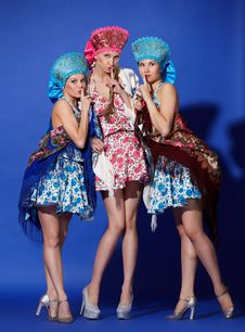 Free Three Girls In Traditional Dress Royalty Free Stock Photography - 20448147