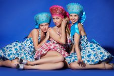 Free Three Girls In Traditional Dress Stock Image - 20448231