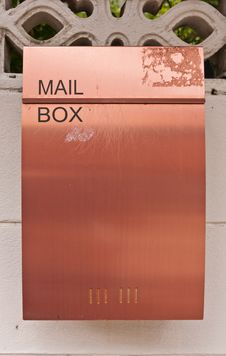 Free Orange Brown Metal Mailbox On Wall Stock Images - 20449034