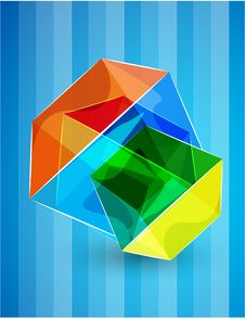 Free Vector Glass Cube Background Royalty Free Stock Images - 20449329