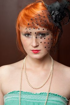Free Mourning Widow Redhead With Freckles On Brown Royalty Free Stock Photography - 20449687