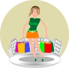 Free Cute Woman With Shopping Bags Stock Photography - 20449812