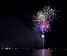 Colorful Fireworks On The Lake Royalty Free Stock Photos